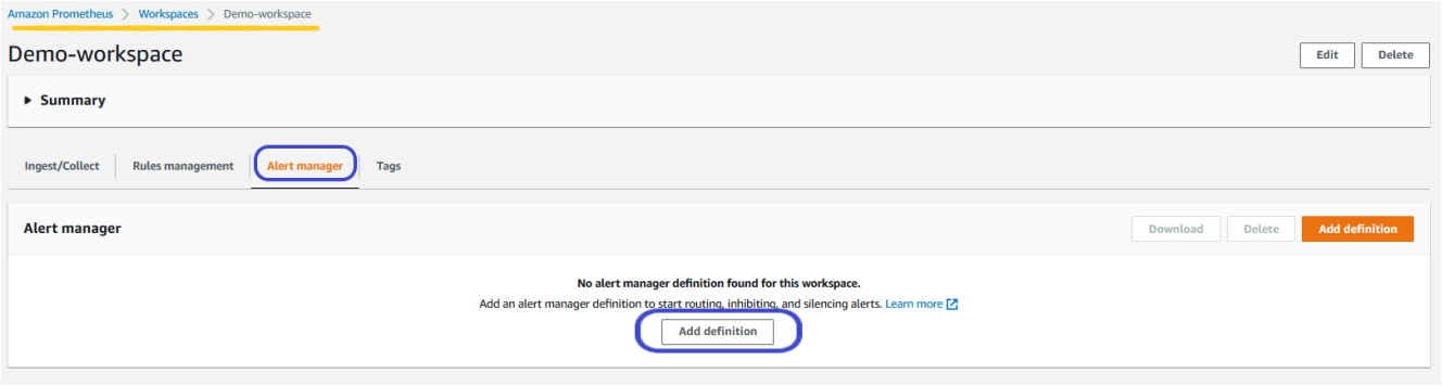 The screenshot illustrates how to add definition from Amazon Managed Service for Prometheus workspace.