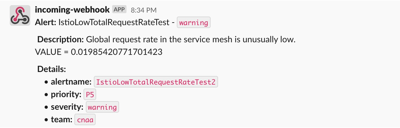 The screenshot is an alert that Amazon Managed Service for Prometheus published to the Slack channel.