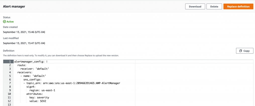 Alert manager tab showing alert configuration on Amazon Managed Service for Prometheus service console