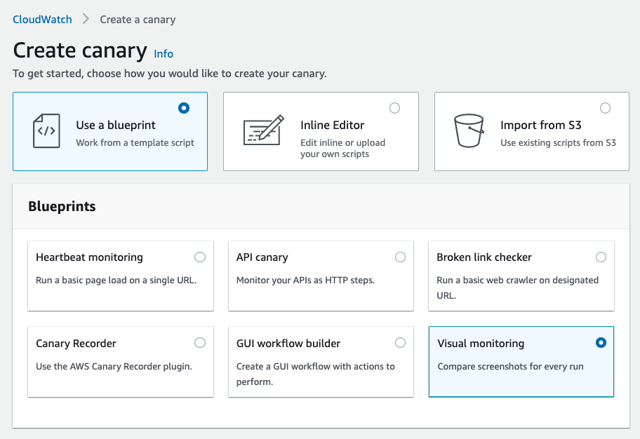 Create canary wizard with Use a blueprint selected. Visual monitoring selected under Blueprints.