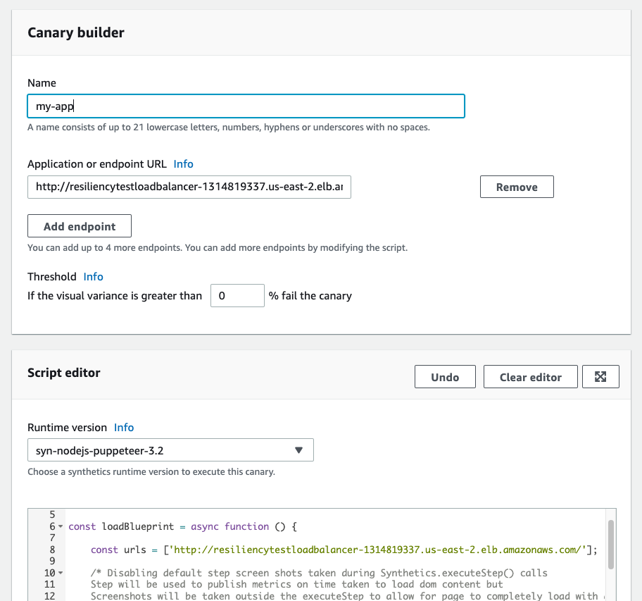 my-app entered for canary Name and endpoint value entered in Application or endpoint URL textbox. Threshold set to 0 and syn-nodejs-puppeteer-3.2 selected for Runtime version.