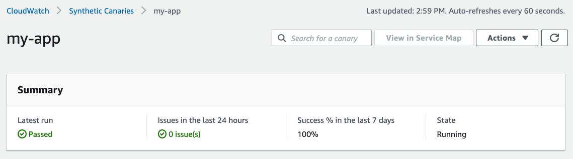Canary summary, 0 issues in the last 24 hours, 100% success in the last 7 days and in the Running state.