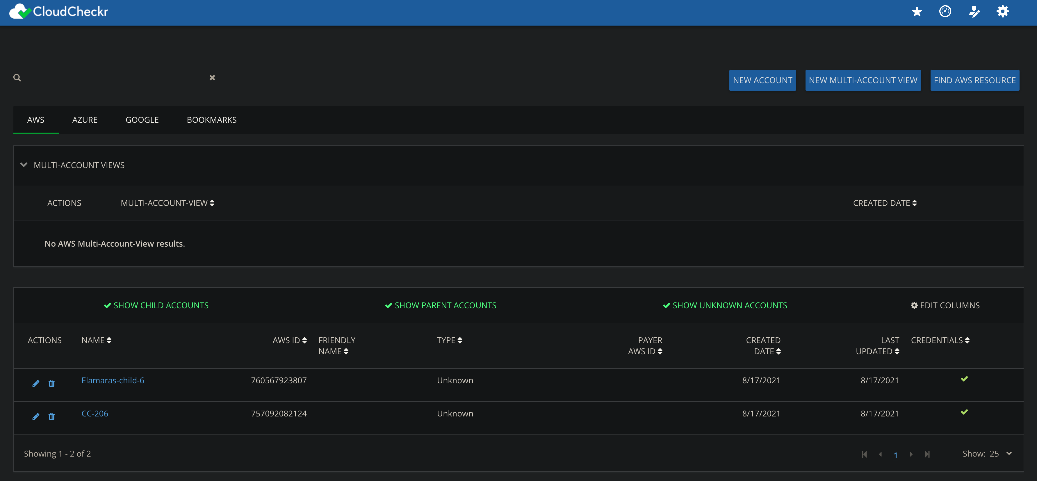 CloudCheckr console showing the list of list of AWS accounts integrated with CloudCheckr