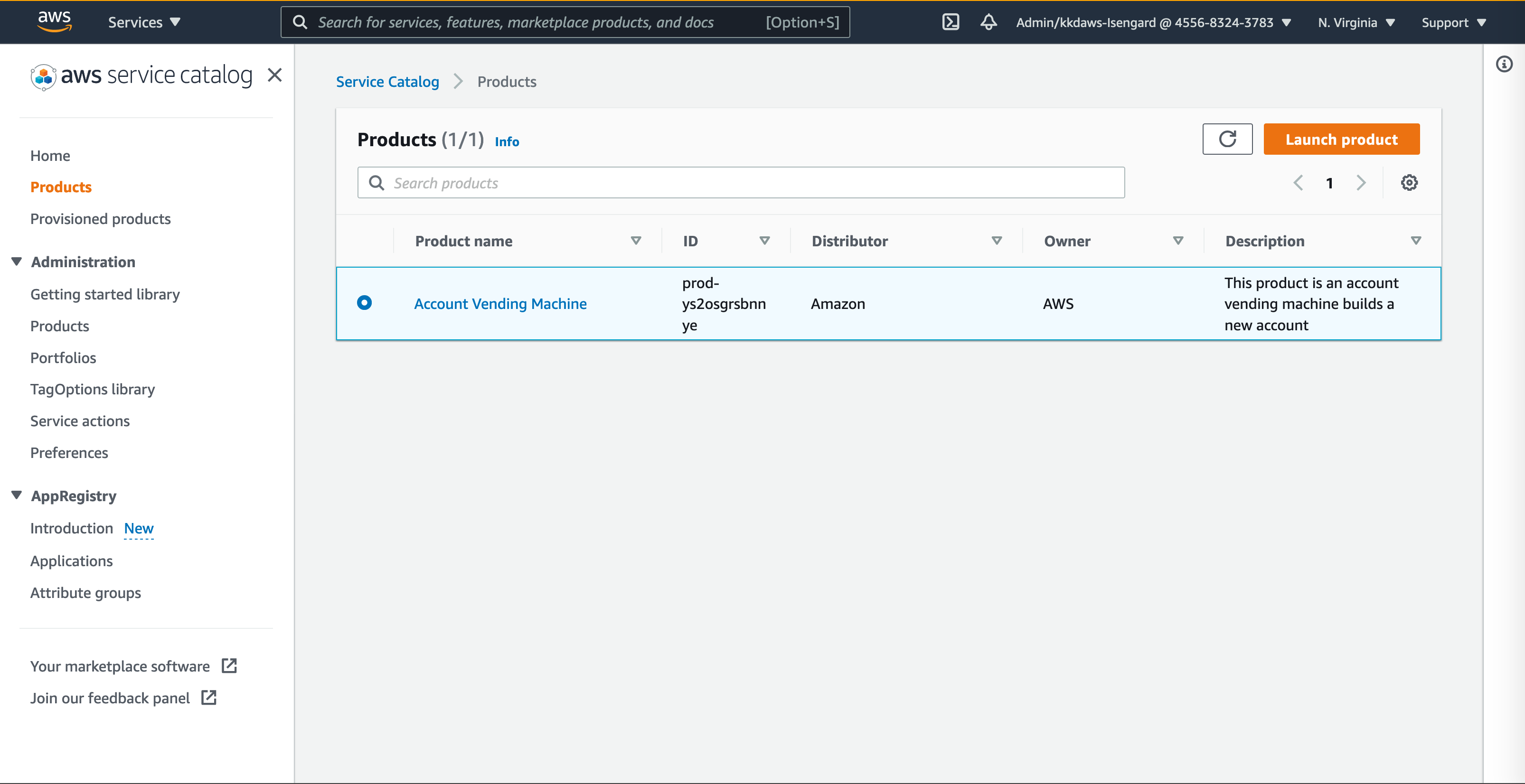 """AWS Service Catalog console showing the """"Account Vending Machine"""" Product."""
