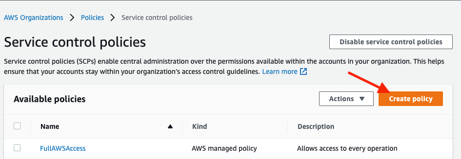 Create Policy button on top-right side highlighted.