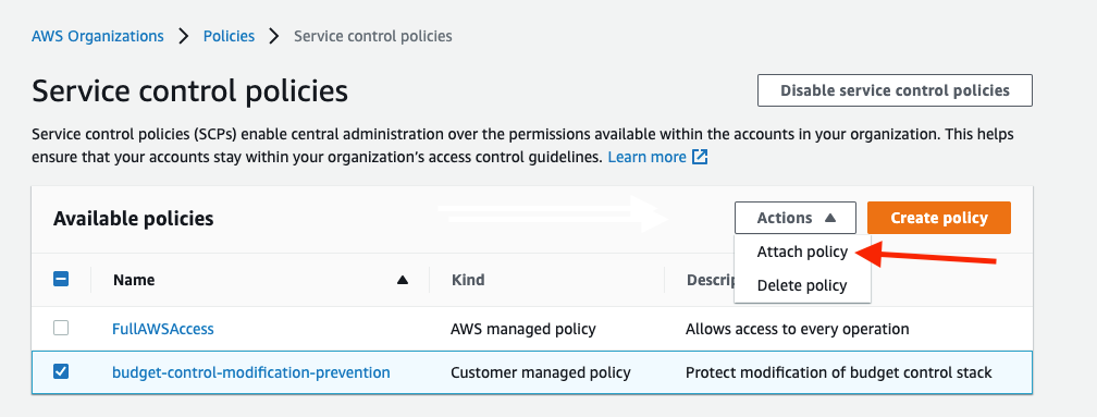 Select the budget-control-modification-prevention policy, and select attach policy in the actions dropdown.