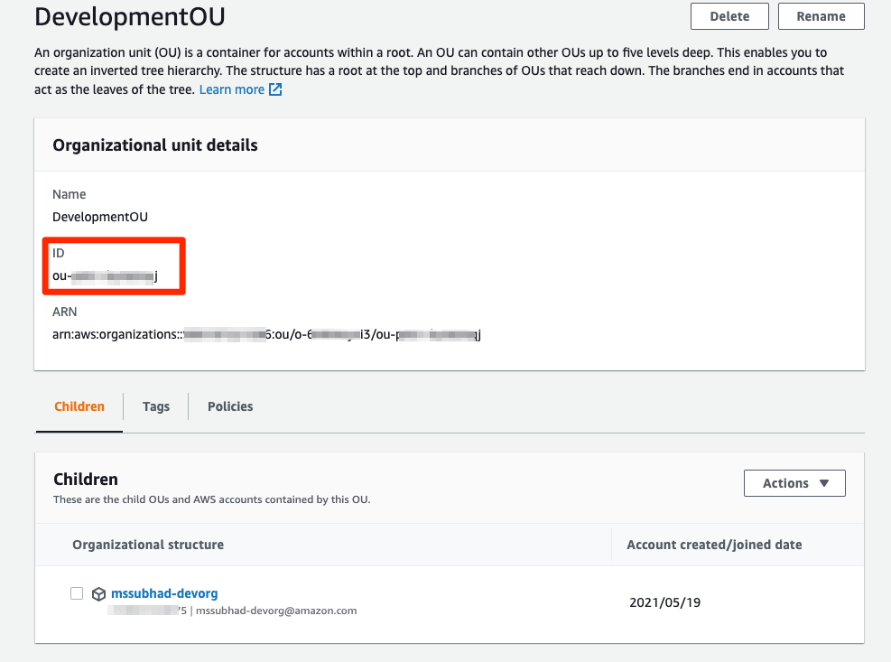 Highlighting the OU ID in the Development OU details.
