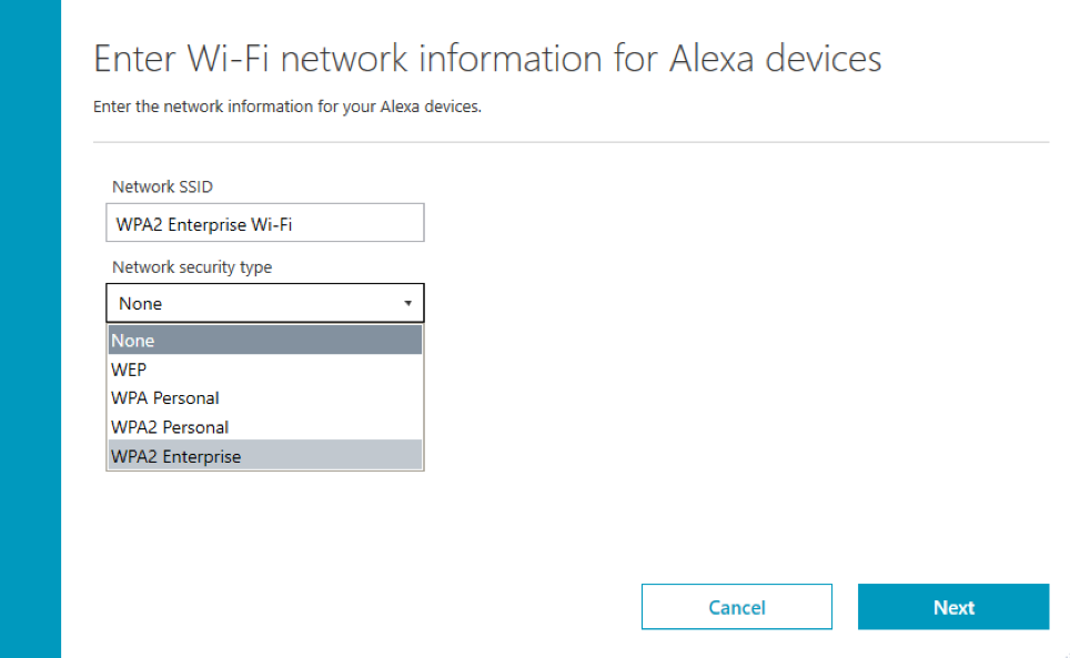 Setup shared devices managed by Alexa for Business on WPA2