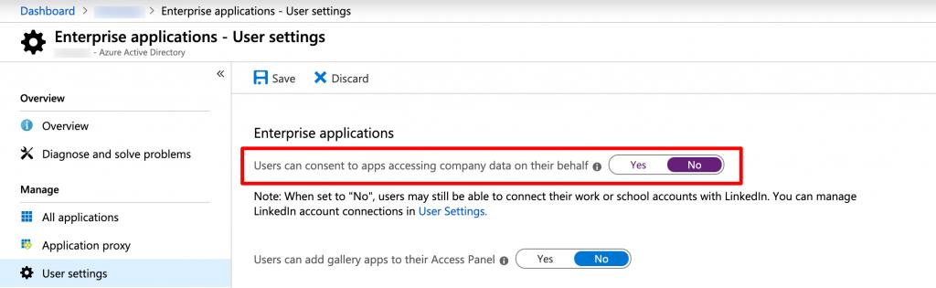 Office 365 enterprise application user settings