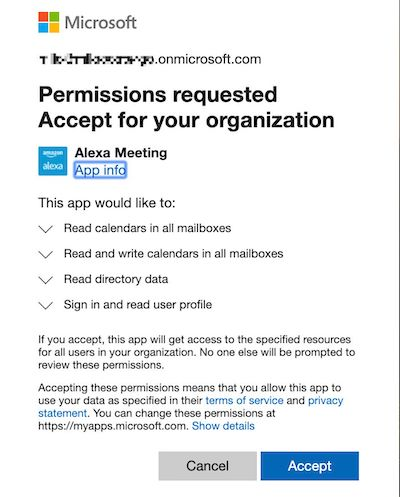 Alexa for Business Office 365 app permissions