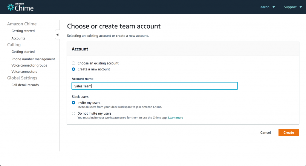 Amazon Chime Console Create an Account