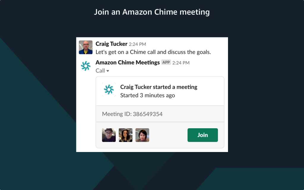 join a meeting from a Slack channel