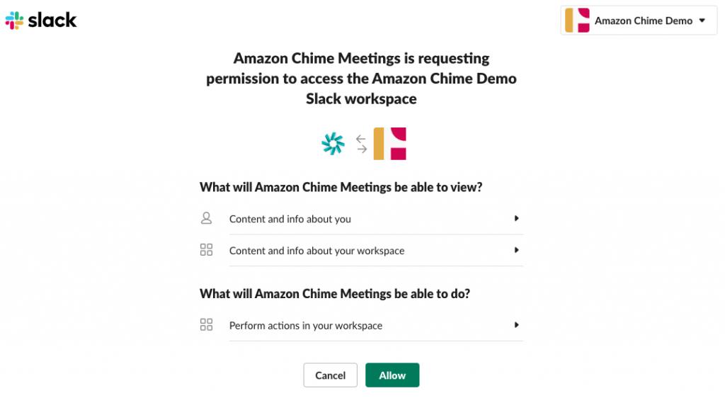 Slack Chime Meetings App Authorize