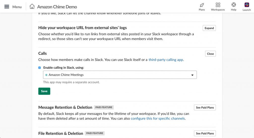 Slack workspace settings default calling app