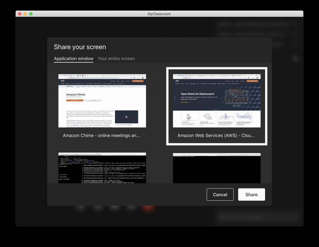 Amazon Chime SDK Virtual Classroom Application Screen Picker