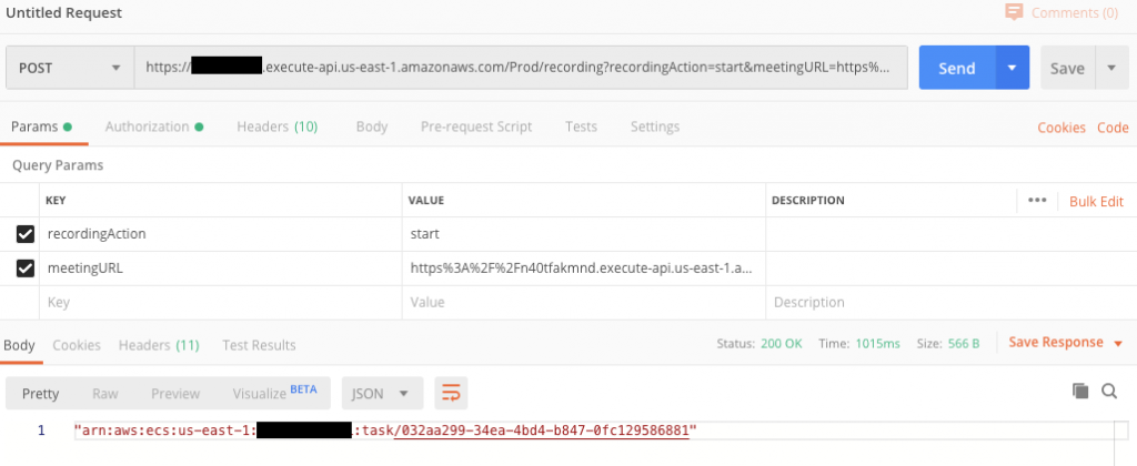 Initiating recording with Postman application