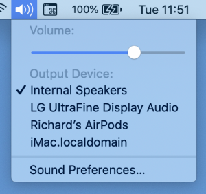 A screenshot of the macOS sound device picker