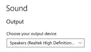 A screenshot of the Windows sound device picker
