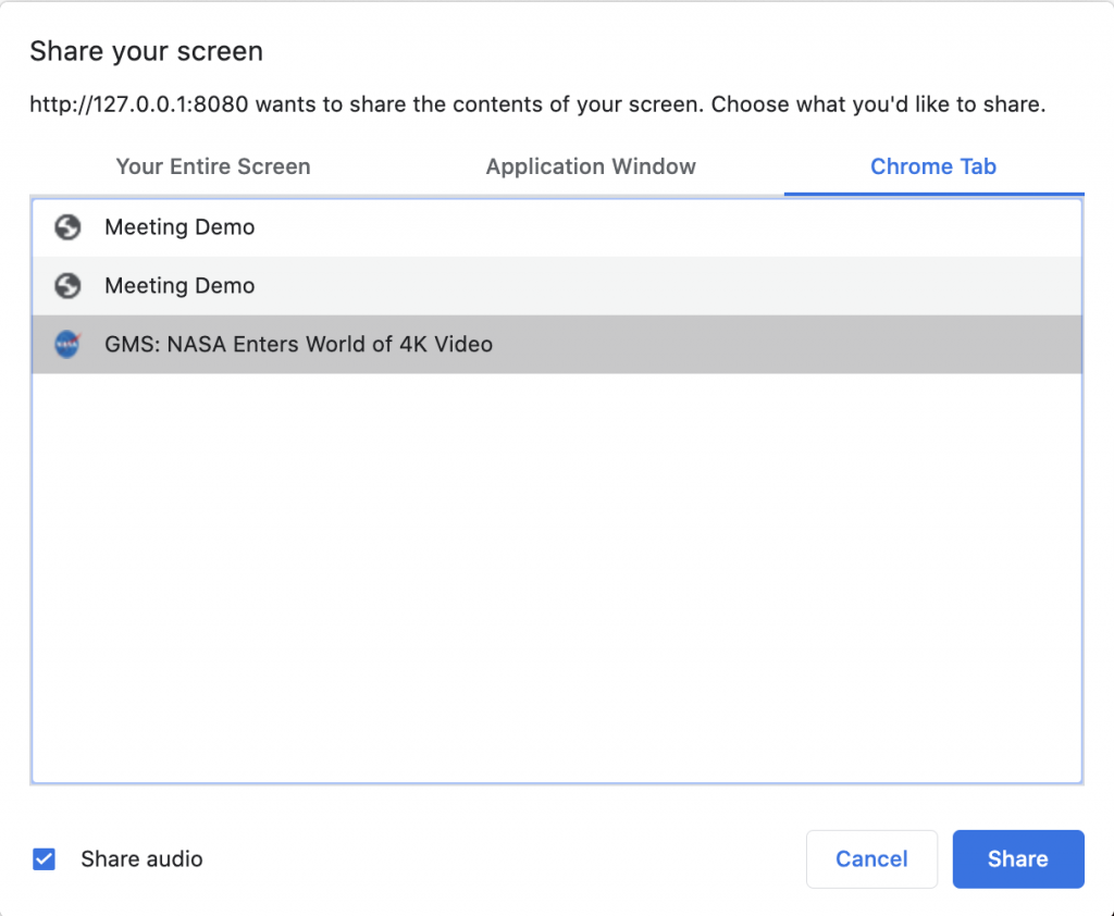 A screenshot of Google Chrome's screen share dialog, showing a tab being selected and the share audio checkbox checked