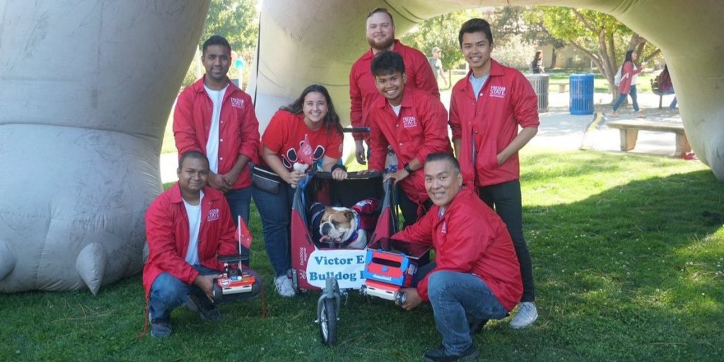 Fresno State Bulldog Bot Team with their Bulldog Bot