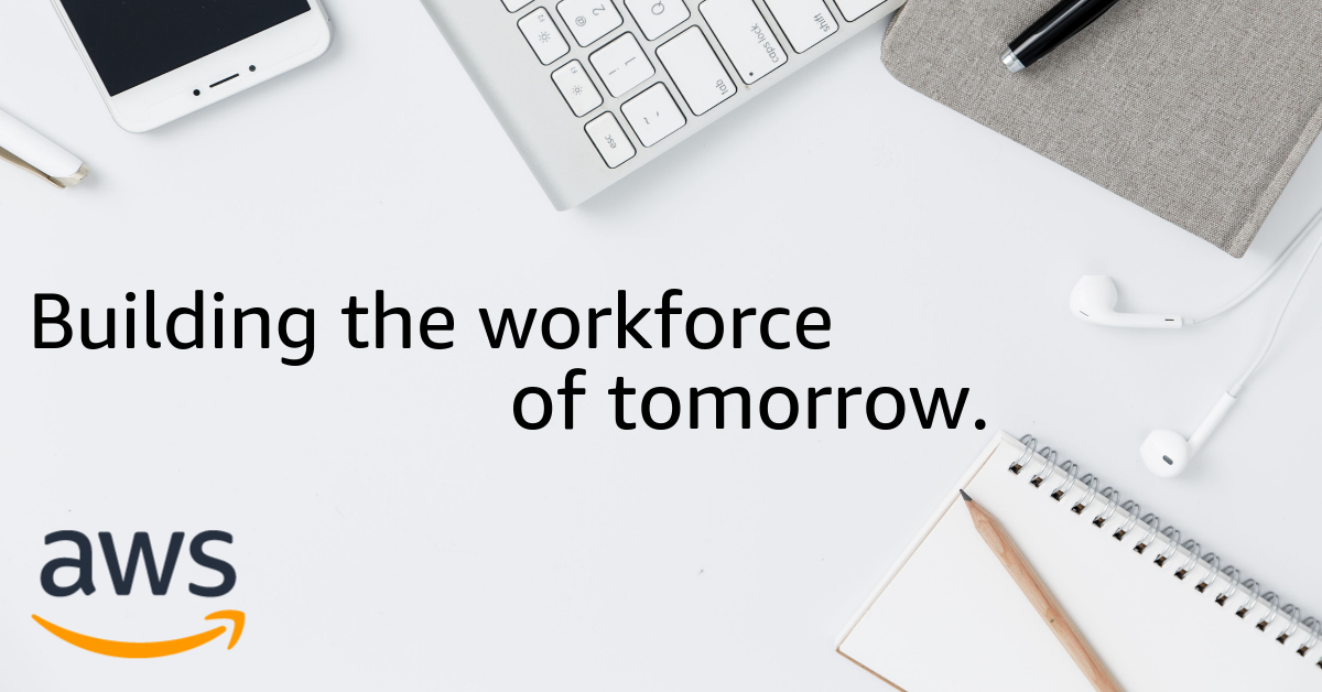 "A desk with various items with words ""the workforce of tomorrow"""