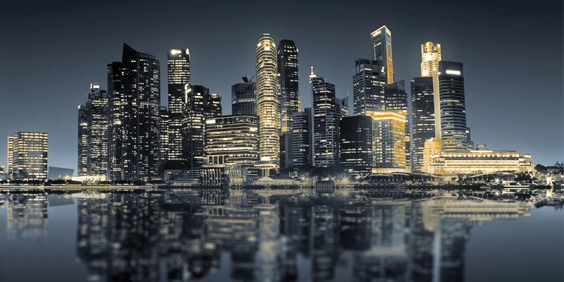 City on a cloud skyline at night