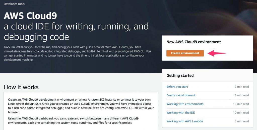 Fig 2. AWS Cloud9 environment