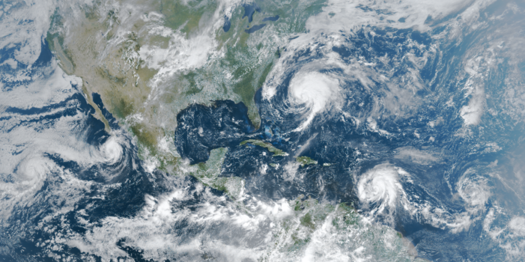Tropical Systems Otis, Norma, Jose, Maria, Lee (from left to right) as captured by NOAA's GOES-16 satellite on September 17th, 2017
