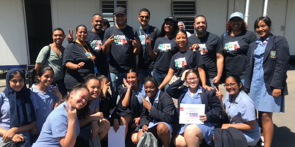 Hour of Code 2019 volunteer team and students in Cape Town, South Africa