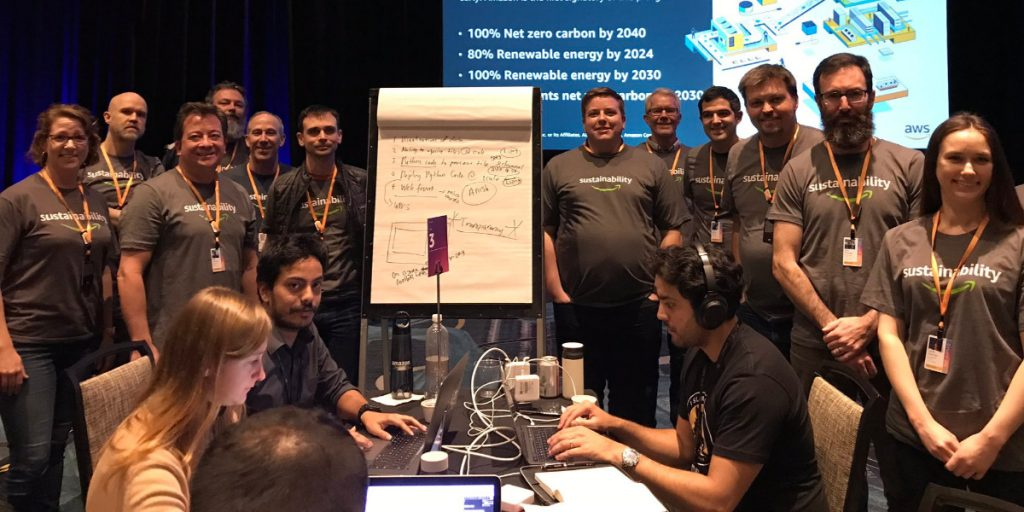 Participants and volunteers at the re:Invent 2019 Code Green workshop and hackathon