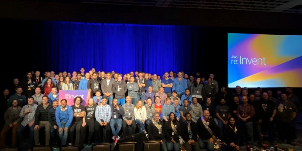 Participants, judges, and staff of the 2019 Re:Invent Hackathon for Good.