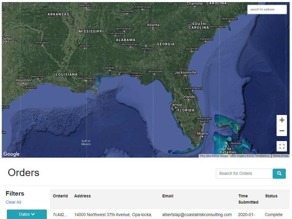 Coastal Risk's AWS Web Portal for Risk Assessment Report Ordering. Customers use a user-friendly interface to select the area of interest and the hazards to be evaluated, and ultimately, to place their order.