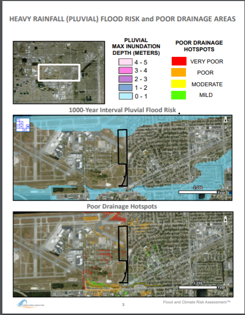 Example of Output Page from Coastal Risk's AWS Report estimating, for the area of interest, surfaces with poor drainage hotspots and expected depth for fluvial inundation.