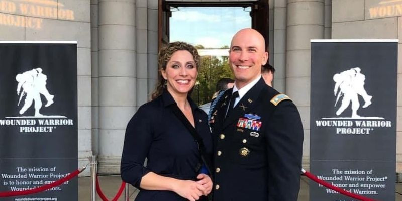LTC Shaun and Beth Conlin at the Wounded Warrior Reception, 2019. Beth is the Senior Program Manager for Military Spouse Programs at Amazon.