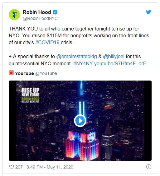 Robin Hood NYC tweet