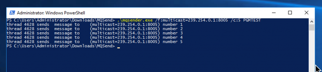 Figure 9: Windows PowerShell to send a multicast packet