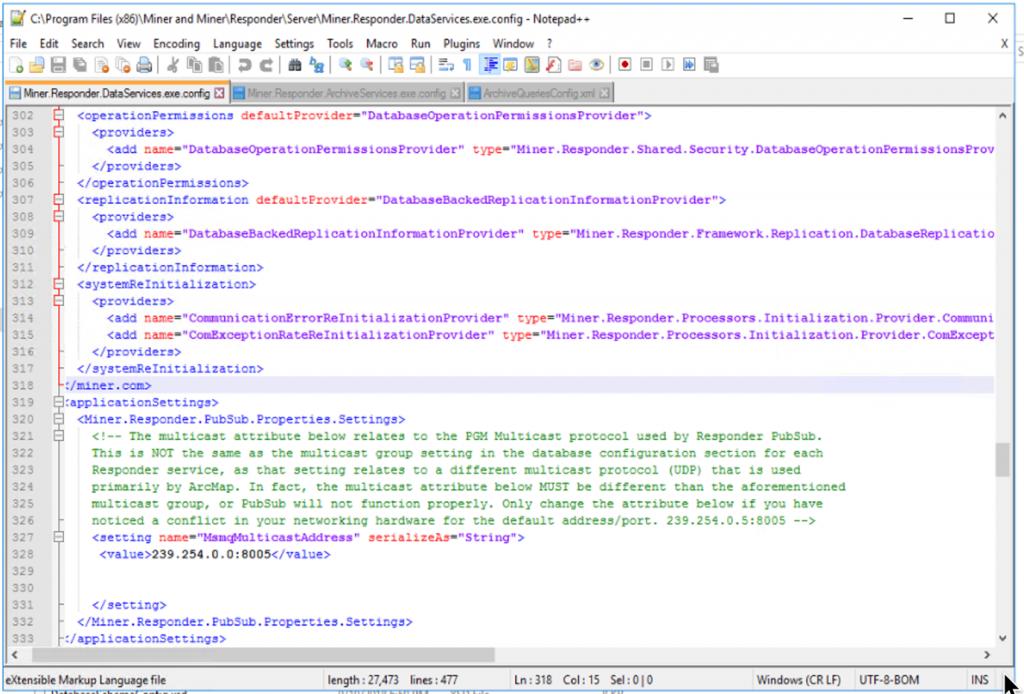 Figure 11: Miner.Responder.DataServices.exe.config file