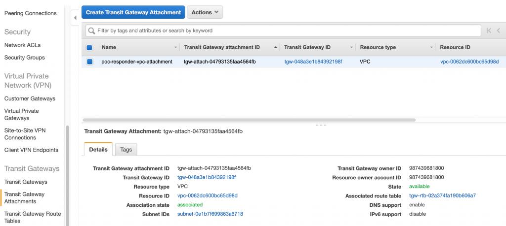 Figure 3: Create a Transit Gateway VPC attachment
