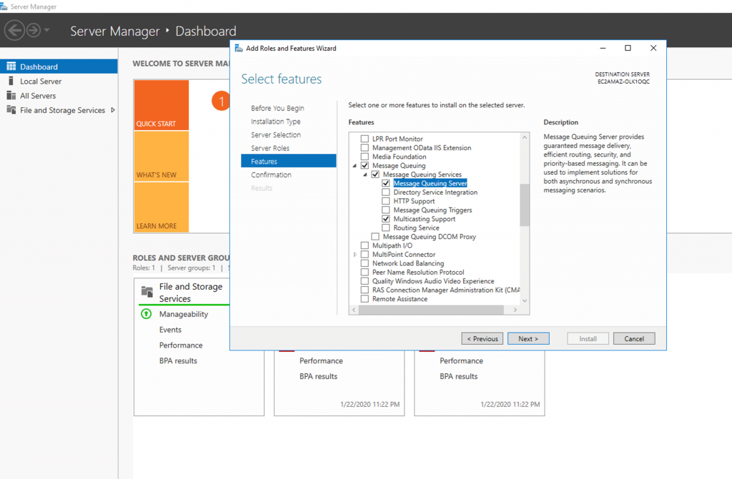 Figure 7: Enable Message Queuing Server on Server Manager