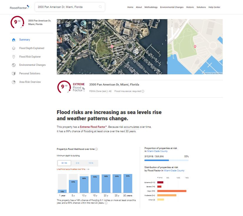 FIoodFactor.com provides an individualized flood risk estimate for each of the 142 million properties in the contiguous United States, and includes an estimate of present and future flood as a score between 1 (minimal) to 10 (extreme). (Shown: estimate for City Hall for the City of Miami, FL)