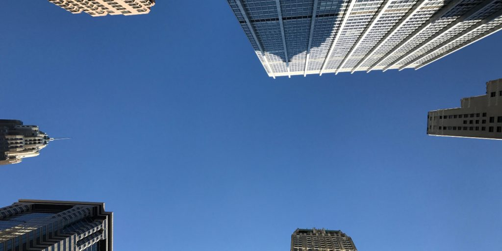 city skylines looking up
