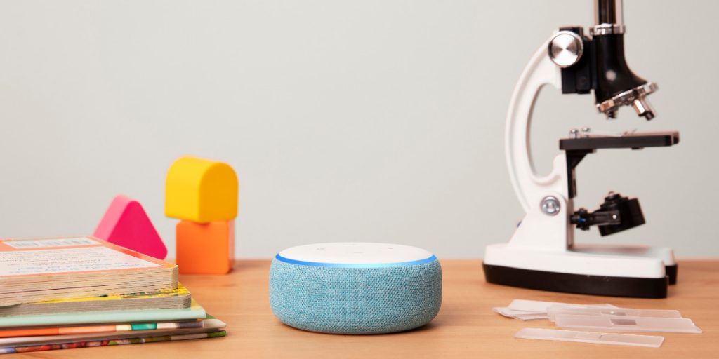 Echo Dot Kids Edition Blue Desk