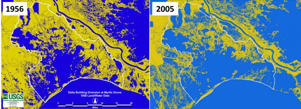 Land loss in Barataria Bay in Coastal Louisiana between 1956 and 2005 (Barras et al, 1994)