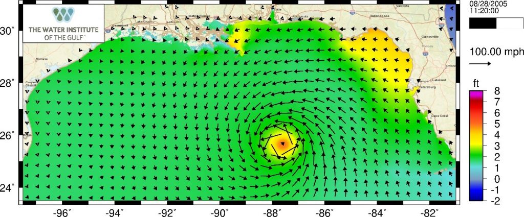 Simulation of Hurricane Katrina as it approaches the Louisiana coast in the ADCIRC model. Colors show the elevation of the ocean water caused by the tides, winds, and atmospheric pressures that occurred during the storm