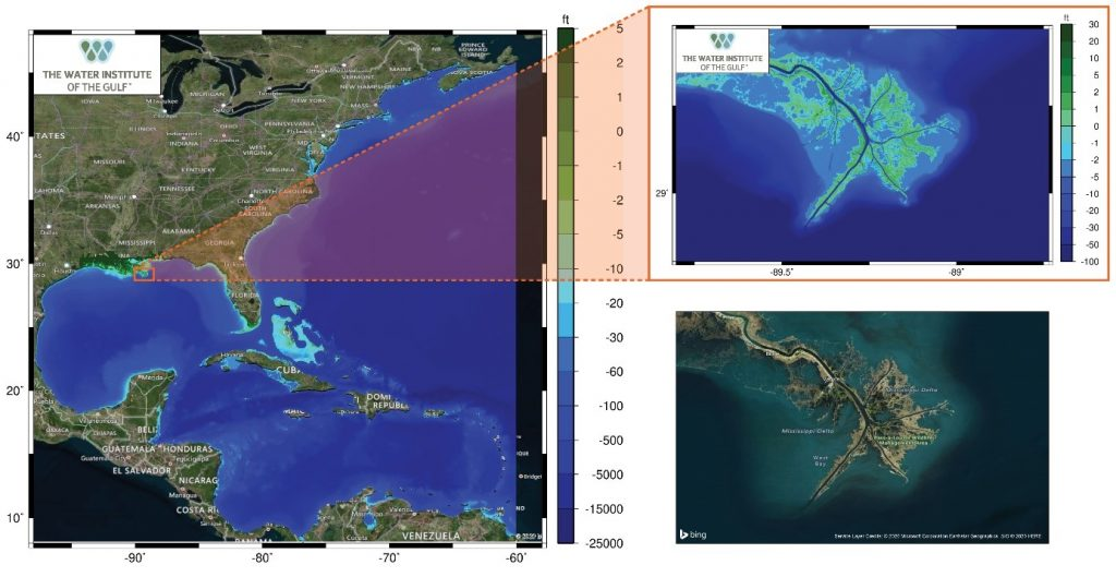 ADCIRC Model domain showing the northern Atlantic Ocean and inset showing the model depiction of the Mississippi River delta (top right) and corresponding satellite image (bottom right)