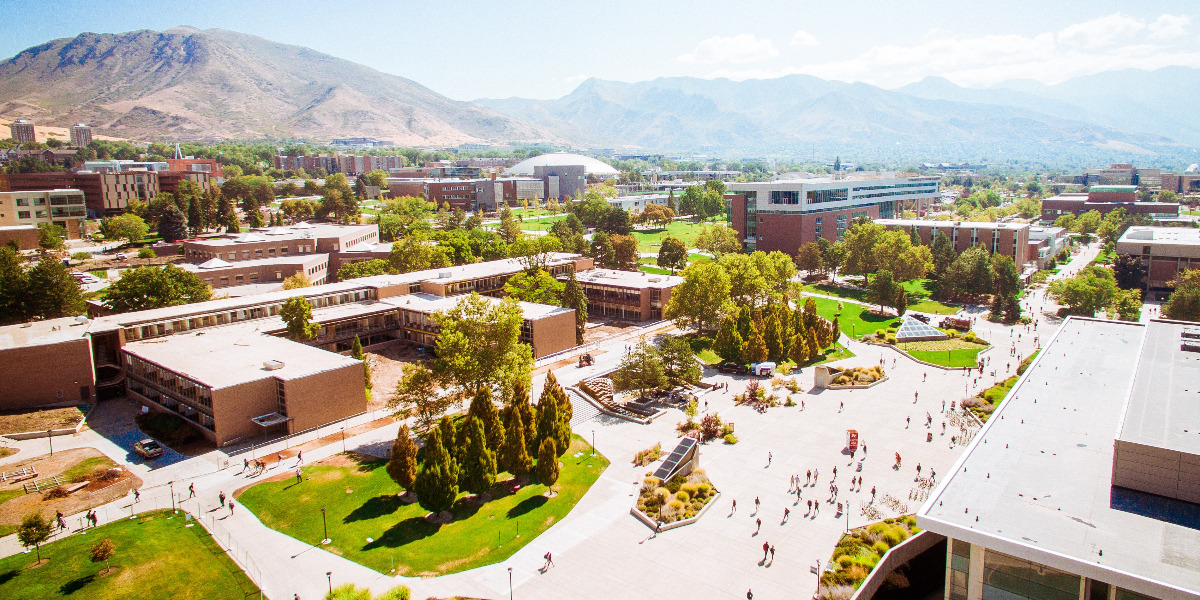 university campus with mountains in distance