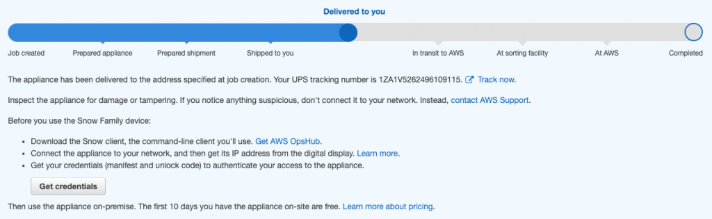 Figure 3: Snow device AWS console page