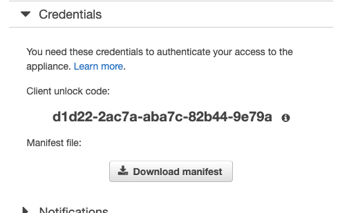 Figure 4: Credentials tab of snow device AWS Console page