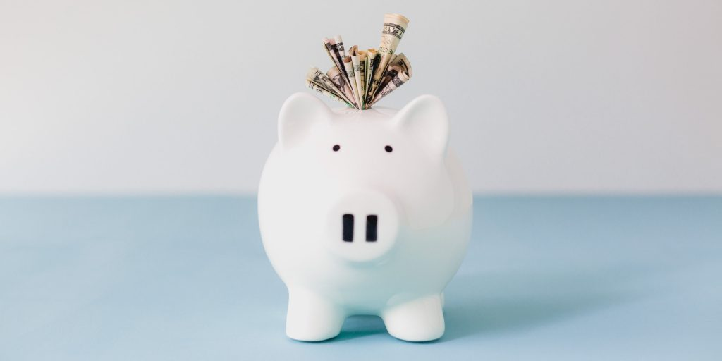 stuffed piggy bank savings