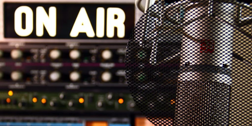 live streaming audio broadcast microphone and on air sign